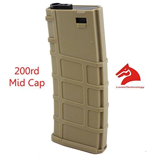 Lonex Airsoft M4 M16 Scar Plastic Tan PMAG Magazine 200 RDS ASG Mid Cap