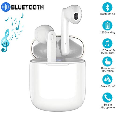 Wireless Headphones, Bluetooth 5.0 Headsets 3D Deep Bass Stereo Sound, 20H Playtime Instant Pairing with Noise Isolating Portable Charging Case for IOS MAX / X / 8/7 / 6s and Android S10 S9 Plus S8