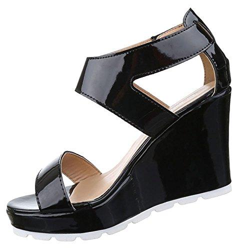 Damen Sandaletten Schuhe Keilabsatz Wedges Plateau Pumps Schwarz Weiss 36 37 38 39 40 41 Schwarz