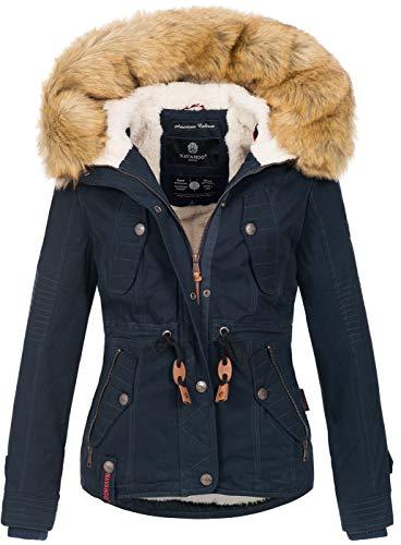 Navahoo warme Damen Designer Winter Jacke Winterjacke mit Kapuze und Teddyfell B643 [B643-Pearl-Navy-Gr.M]