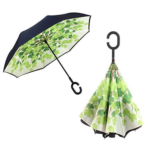 Fancylande Umgekehrter Regenschirm Schirm C-förm, Regenschirm Faltenschirm Umgekehrter Doppelschirm Winddicht UV-Schutz Schutzschirm C-förm Regenschirm für Auto