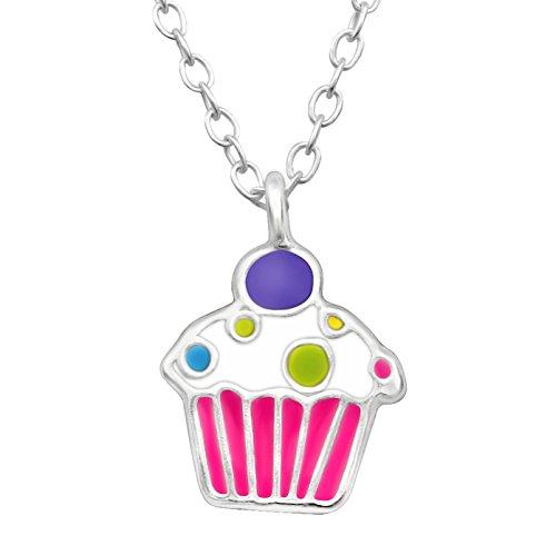 JAYARE Kinder-Halskette Muffin Cupcake 925 Sterling Silber Emaille rosa pink weiß 9 x 8 mm Mädchen-Kette 39 cm mit Anhänger
