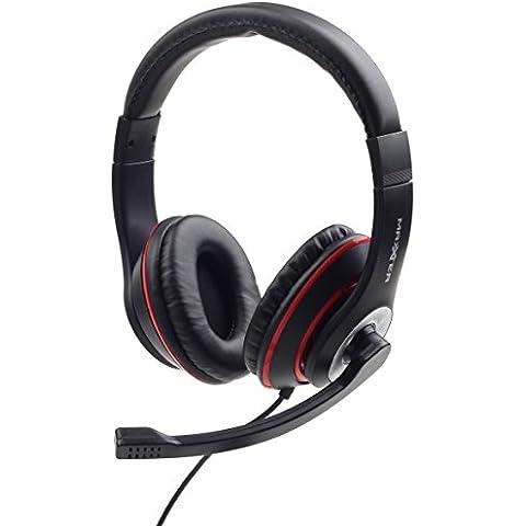 & # X2728; netta soluzioni & # X2728; cuffia Micro PC per gaming, Musica, Video, Skype | Nero e Rosso