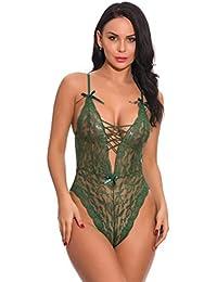 fc6bbec22b35 Bringbring Fashion Women Lingerie One Piece Babydoll Mini Bodysuit Sexy  Lingerie Underwear