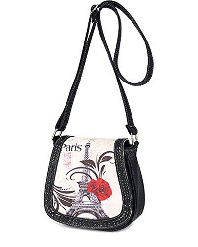 Sacchetto di spalla del sacchetto di spalla di stampa floreale di modo Sacchetto di spalla del paese del paese piccolo, cachi di 20 * 9 * 18cm Black