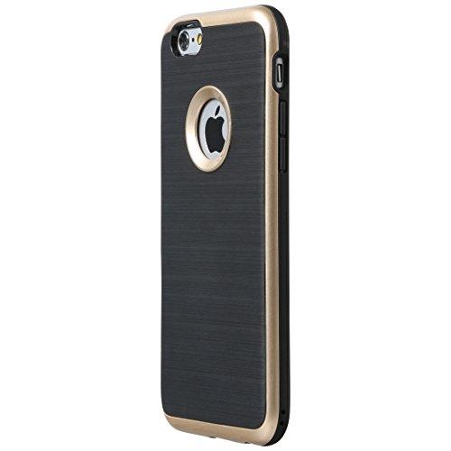TPU Schutzhülle / Schale für IPhone 6 in Kontrastoptik mit farbigem Rand, Schwarz/Gold ()