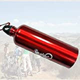 ClookYuan Tragbare Durable 750ML Aluminium Kessel Mountainbike Radfahren Wasser-Trinkflasche MTB Fahrrad-Wasser-Flasche - Rot