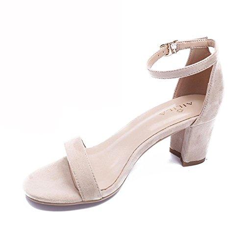 L@YC® Frauen FrüHling Sandalen Einfache Wort Mit Exposed Toe Damen Dick Mit High Heels Pink GüRtelschnalle Mit Tanz Pump White