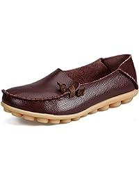 Auspicious beginning Dame-beiläufige lederne Mokassin-flache Boot Schuhe