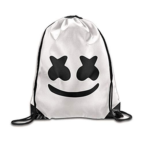 DJ Latex Bag, Cool DJ Face Print Kordelzug Schultertasche Reise Outdoor Rucksack für elektronische Silbe Halloween
