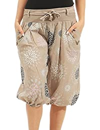 3a7b331bd08f Hibote Women Cropped Pants Harem Trousers Uni-Colors Balloon Trousers  Turkish Trousers Floral Printed Puff