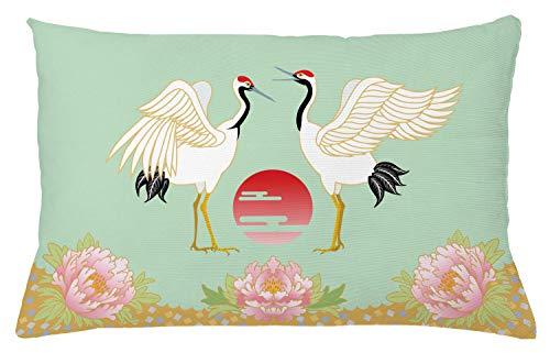 ABAKUHAUS Pluma Funda para Almohada, Grullas Japonesas Amanecer, Colores Perdurables Tela Lavable, 65 x 40 cm