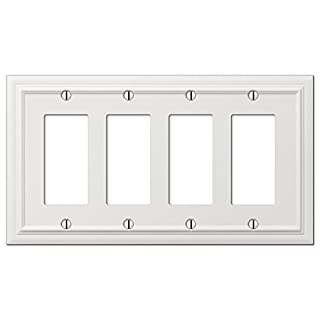 Amerelle 94R4W Continental White Cast 4 Rocker Wallplate by Amerelle