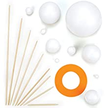 Make Your Own Solar System Kits with Various Sizes Polystyrene Balls, Foam Pieces &Wooden Sticks For Kids Science Projects(Pack of 2 Kits)