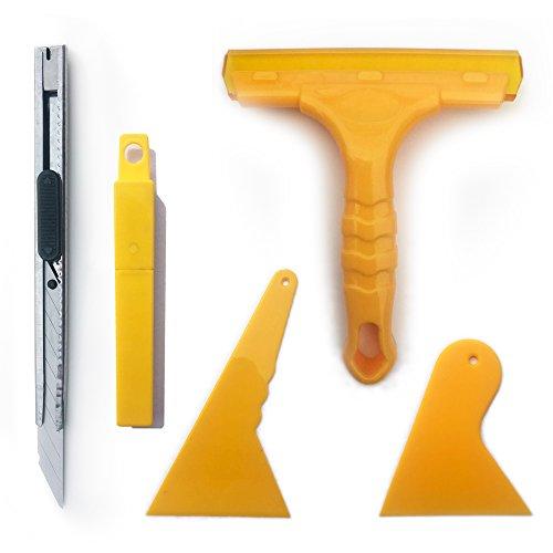 5in 1Tint Tools Set für Car Fenster Verpackung getönte und Vinyl Anwendung Tools inkl. 3wasserschiebern, Universalmesser und Rasierklingen - Fenster-abziehbild Getönte