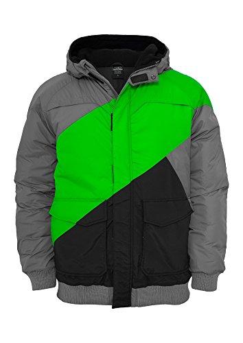 Urban Classics Herren Jacke Zig Zag Fastlane Jacket grey/limegreen/black