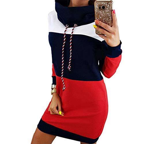 Modfine Damen Kapuzenpullover Sweatshirt Kleid Hoodie Lang Pulli Langarm Minikleid Sweatkleid Longsweatshirt