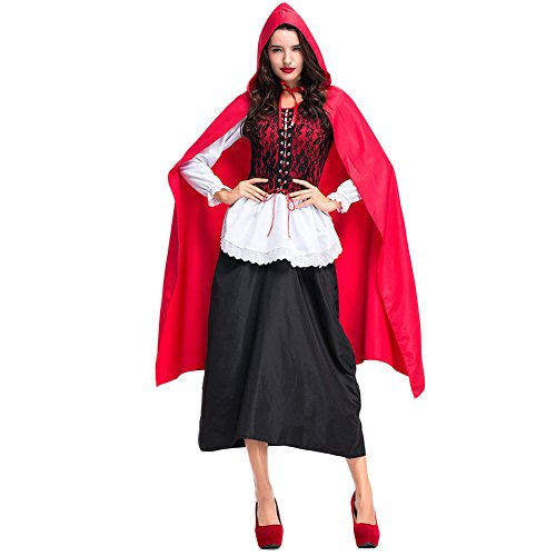 Hallowmax Rotkäppchen-Kostüm für Erwachsene Little Red Riding Hood Kleid Cosplay Halloween Karneval (Hood Little Riding Red Kleider)
