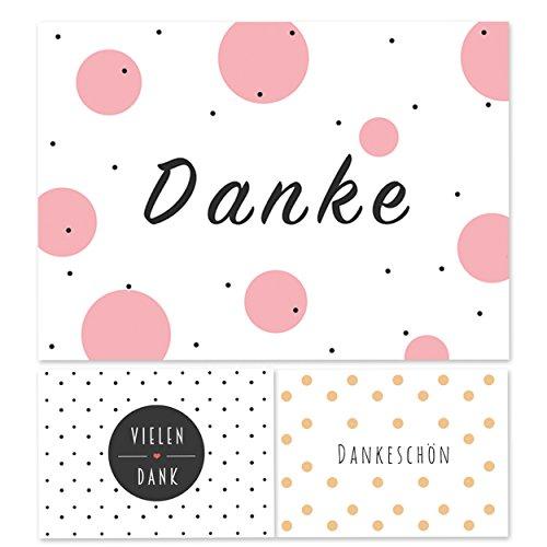 12 moderne Dankeskarten, Hochzeit, Geburt, Baby, Dankeschön, Danke sagen, Geburtstag, Konfirmation
