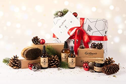 Bartmanie 5 teiliges Bartpflege Set bestehend aus Bartshampoo (100ml), Bartwuchsspray (50ml), Bartwachs (50ml), Bartöl (50ml) & Bartbürste, inkl. Geschenkpapier & Grußkarte, Weihnachts-Geschenkset