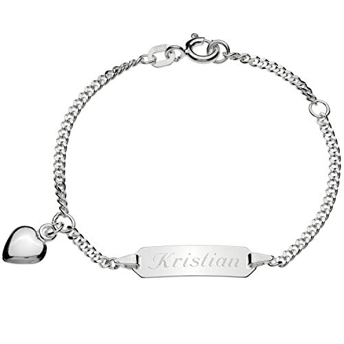 Schmuck-Pur Echt Silber Mädchenarmband Silberarmband Herz 16cm mit Gravur