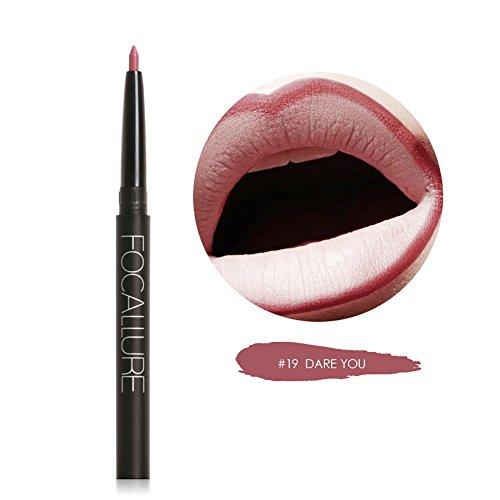 Weisy 19 Farben Lippenfarbe Bleistift Lipliner Langlebige Pigmente Nude Braun Rosa Matte Lip (Tutorial Up Glamour Make)