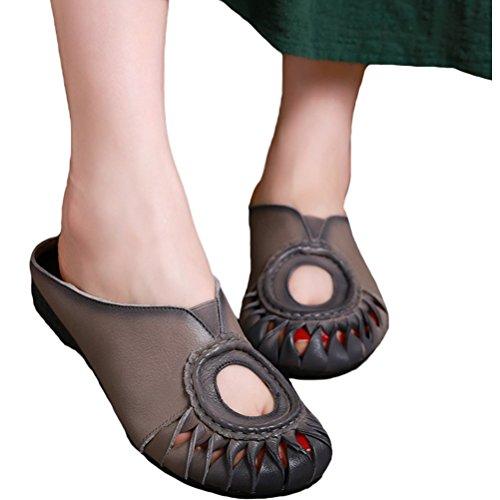 Vogstyle Donna Nuovi Sandali In Pelle Pistoni Della Spiaggia Stile-1 Grigio