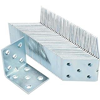 KOTARBAU Winkelverbinder 50 x 50 x 40 x 2 mm mit Sicke Stahl Bauwinkel Montagelöcher Möbelverbinder Verzinkt Schwerlast Holzverbinder Montagewinkel (100)