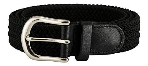 Streeze ceinture de 30 mm extensible et tressé avec une boucle en métal argent 6 tailles (Noir, L)