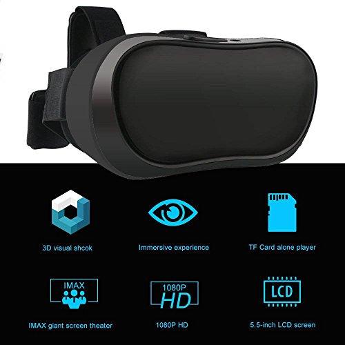 3D VR-Helm Virtuelle Realität VR Alles in einem 3D VR Brille für qkfly Android 5.1System HD Display unterstützt WiFi 2.4G Bluetooth TF Karte HDMI für PC Movie und PS4Xbox Spiele Youtube, VR Google