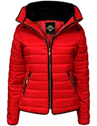 Womens Ladies Quilted Padded Coat Bubble Puffer Jacket Fur Collar Hooded Thick [Red, UK L]