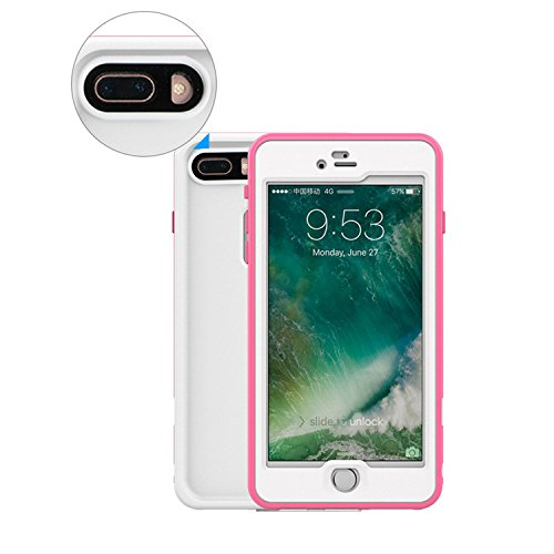 Wasserdichte Handyhülle für iPhone 7+ Plus, Vandot Waterproof Case Cover für das iPhone 7+ Plus 360 Grad Schutz hülle Shock-Proof staubdicht Anti-Snow Cover Case mit Screen iPhone Protection 7+ Plus 5 Wasserdicht-Rose rot