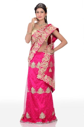 Chhabra555 Pink Net One Minute Saree