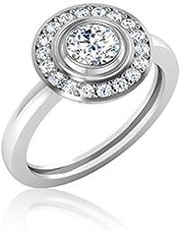 IskiUski White Gold And American Diamond Ring For Women - B075VH9QDD