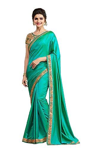Arawins Women's Satin Saree With Blouse Piece (Aw_Prachigreen_Green)