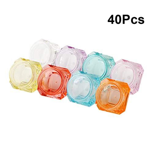 Beaupretty 40 stücke 5g Leere Kosmetische Behälter Topf mit Deckel Mini Reiseflaschen Kunststoff Gläser Reisebehälter (Grün + Rosa + Weiß + Transparent + Gelb)