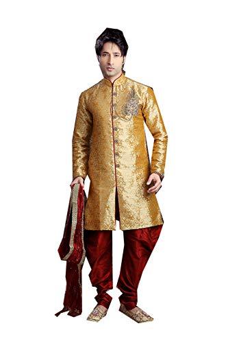 Indian Designer Partywear Traditional Ethnic Mustard Mens Wear Sherwani. -