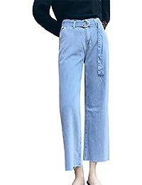 COCO clothing Relaxed Mom Jeans Damen Classical Freizeithose Frauen Hoher  Bund Bindegürtel Pants Ankle Lange Dünn 8122b68b6c