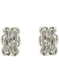 Clip On Earrings Store Silver Plait Semi Hoop Clip On Earrings