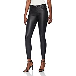 Vero Moda Vmseven NW SS Smooth Coated Pants Noos, Pantalones para Mujer, Negro (Black Detail:Coated) 36 /L30 (Talla del Fabricante: Small)