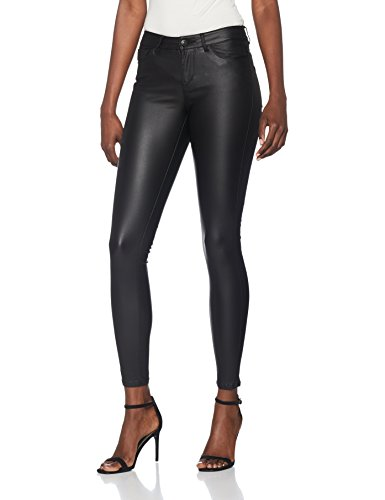 VERO MODA Damen Vmseven NW SS Smooth Coated Pants NOOS Hose, Schwarz (Black Detail:Coated), 34 /L30 (Herstellergröße: XS) - Enge Lederhose