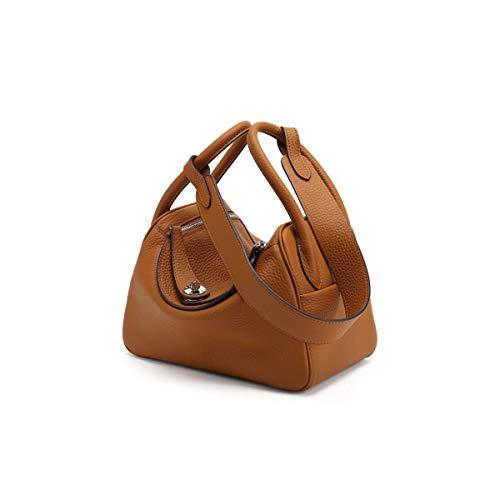 Hulday Frauen Leder Handtaschen 2018 Neue Echte Ledertasche Lycra Brust Arzt Einfacher Stil Tasche Hochwertige Leder Umhängetasche (Braun Schwarz Grau Blau Orange) (Color : Brown, Size : One Size) -