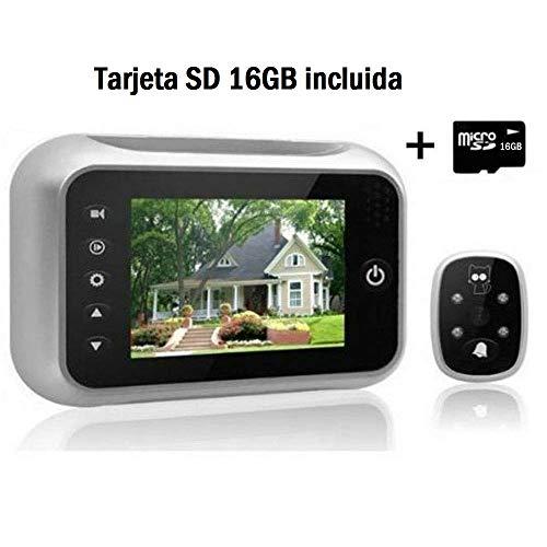 Digitaler Türspion mit 8,9 cm (3,5 Zoll) LCD-Türschutz, mit SD-Karte 16 GB, hohe Pixel Peehole Kamera, Weitwinkel, mit Nachtsichtfunktion (Außenspiegel Hardware)