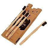Bambus Zahnbürsten im 4er Pack · Gratis Bambus Wattestäbchen Packung je Kauf (Werbeaktion beachten) · mittelweiche Aktivkohle Borsten · vegane und BPA-freie Holzzahnbürste