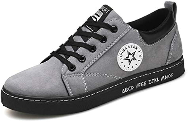 Hombres Zapatillas De Cuero De Encaje hasta Gruesos Zapatos Casuales De Suela Ligera Transpirable Zapatos De ConduccióN