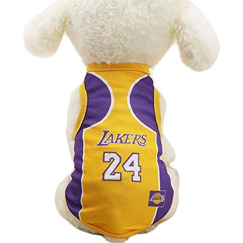 JiMany Hundebekleidung NBA Basketball T-Shirt Hunde Kostüm Trikot für Hund Katze Lakers,Yellow,L