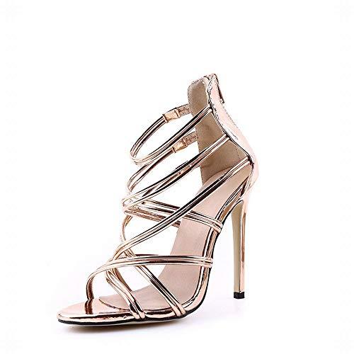 EGS-Shoes Fischmund Hohlkreuzriemen High Heel Sandalen Damen High Heels,Grille Schuhe (Farbe : Golden, Size : 39) (Go Halloween Go Stiefel)