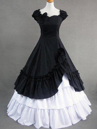 Schwarz weiß Victorian Lolita Lang Kleid Cosplay Kostüm (Cosplay Kostüme Maßgeschneiderte)