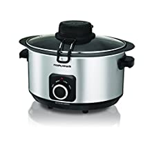 Morphy Richards 461010 Sear, Stew and Stir Slow Cooker Integrated Auto Stirrer, Aluminium, 6.5 liters, Silver