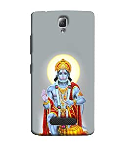 PrintVisa Designer Back Case Cover for Lenovo A2010 (Religious God Bajrang Wali Hanuman Bhagwan Blue Red Grey)